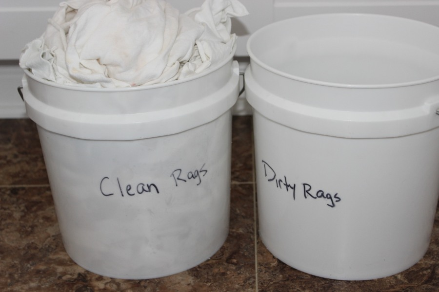 Clean and dirty buckets.